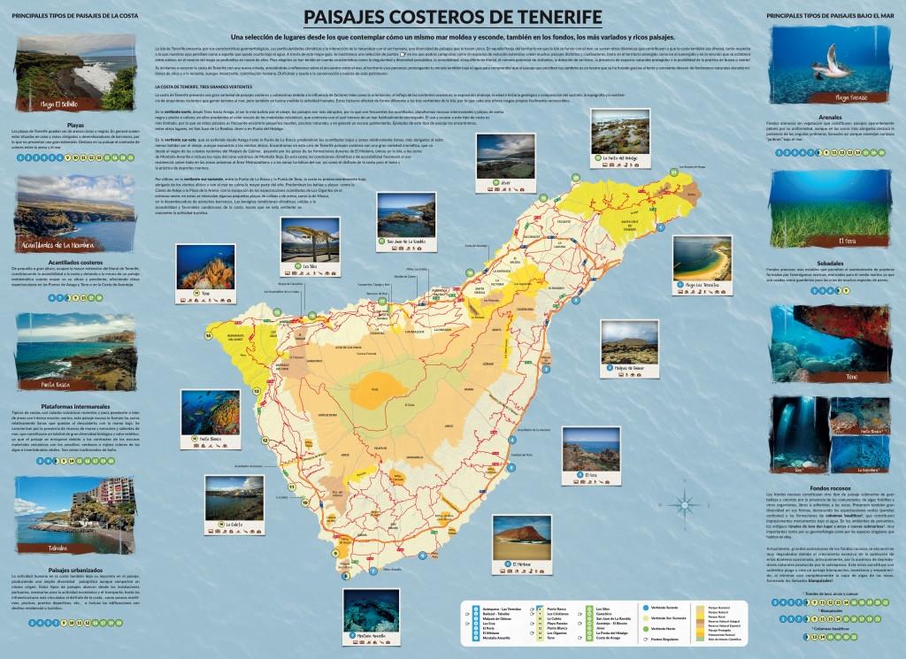 Anverso del mapa-guía Paisajes Costeros de Tenerife